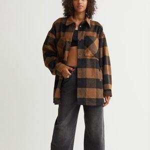 H&M brown plaid shirt jacket size XXs